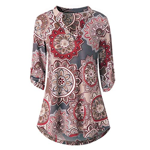 KIKOY Womens V-Neck 3/4 Sleeve Vintage Floral Print Casual Soft Long Tunic ()