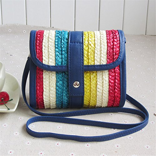 Punto Moda Beach Bag Vacaciones Ss3164 De Mini Mujeres Straw Bags Femenino Brown Blue Ladies Summer Bolso Shoulder Stripe 1xqP6xA