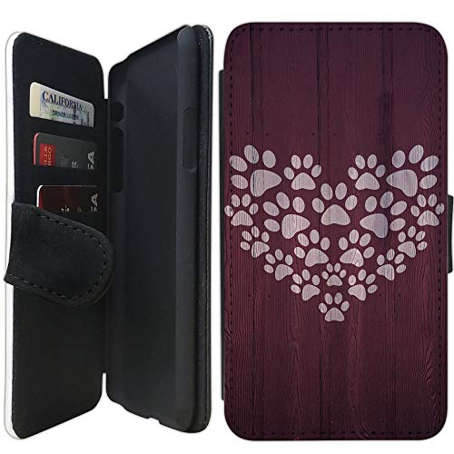 Flip Wallet Case Compatible with iPhone X/XS (5.8 inch) (Paw Print Heart Design) with Adjustable Stand and 3 Card Holders | Shock Protection | Lightweight | Includes Free Stylus Pen by Innosub