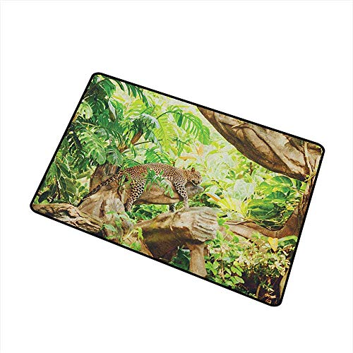 Safari Welcome Doormat Leopard on The Branch in Savannah Exotic Macro Tropical Leaf Jungle Wild Nature Art Super Absorbs Mud 16