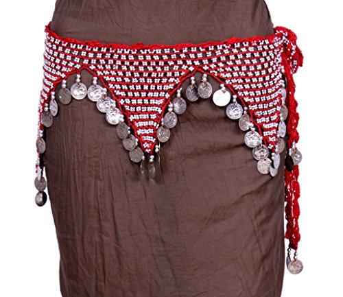 [Belly Dance Women's Bellydancing Red Hip Scarf White Coins] (Golden Belly Dancer Costumes)