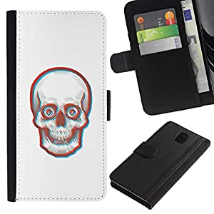 LECELL--Cuero de la tarjeta la carpeta del tirón Smartphone Slots Protección Holder For Samsung Galaxy Note 3 III -- Cara 3D Skull Skeleton --