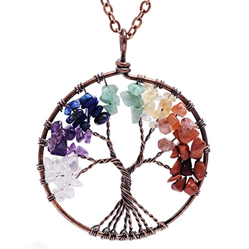 QILMILY 7 Chakra Tree of Life Necklace -Family Tree Pendant Wire Wrapping Necklace jewelry Gifts for Women