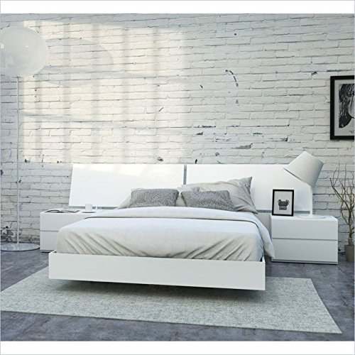 Nexera District 4 Piece Queen Bedroom Set in White Lacque...