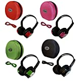 4 Pack Kid Sized Wireless Infrared Car DVD IR Automotive Colored Adjustable 2 Channel Headphones With Case and 3.5mm Auxiliary Cord. Note: Will Not Work on 2017+ GM's or Pacifica