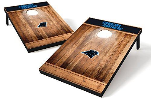 (Wild Sports NFL Carolina Panthers 2'x3' Cornhole Set - Brown Wood Design)