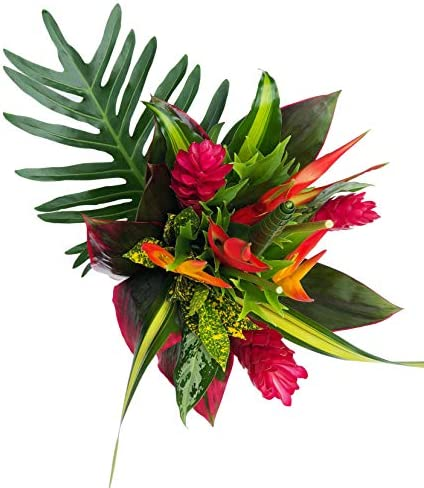 Tropical Bouquet Tropical Treasure with Bright Heliconias, Pink Ginger, and Bold Tropical Greenery