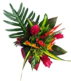 Tropical Bouquet Tropical Treasure with Bright Birds of Paradise, Pink Ginger, and Bold Tropical Greenery