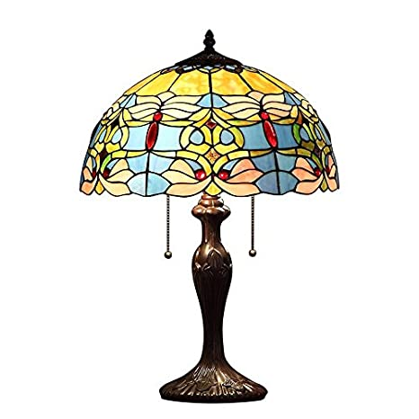 Bieye L10580 16 Inches Flowers Tiffany Style Stained Glass Table