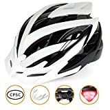 Bike Helmet,Basecamp Lightweight Adult Cycling Helmet with CPSC Safety Certified/LED Safety Light/Removable Visor/Flow Vents-Safety and Comfortable for Men/Women/Youth for Mountain& Road (BlackWhite) For Sale