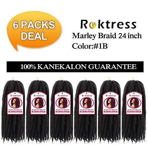 Roktress Marley Hair For Twists Marley Braiding Hair Marley Braid Crochet Hair Long Afro Kinky Marley Twist Braid Hair Extensions 100% Kanekalon Synthetic Fiber (246pcs, 1B#)