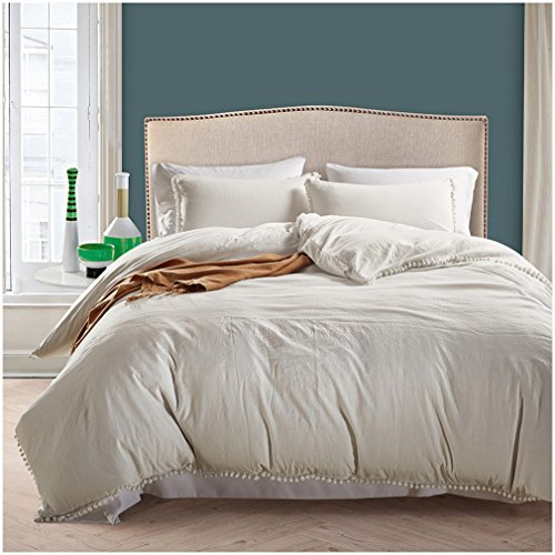 Lightweight 100% Washing Duvet Cover Sets, Anti-allergy anti-wrinkle Soft 3 Piece Sets of Duvet Cover Bedding (King, white) (Where To Buy Duvet Cover)