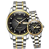 Luxury Luminous Calendar Diamond Men Women Automatic Mechanical Stainless Steel Waterproof Lovers Watch (Silver Gold Black)