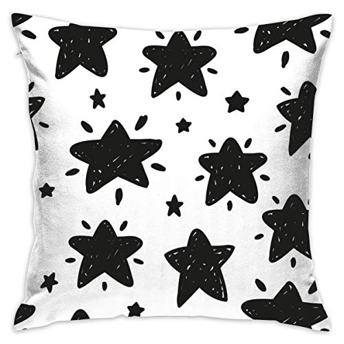 "Shining Stars Bu0026w Pillow Cover 18""X18""Pillowcase Square Throw Case Cushion for Sofa Decorative"