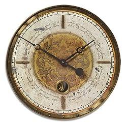 Uttermost 06006 Leonardo Script Wall Clock - 18 Cream