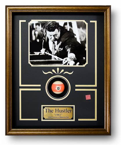 "The Hustler Billiard Movie Memorabilia Game Room Decor Framed Photo, Plate, Real Pool Ball, Chalk Custom Made Real Wood Dark Walnut Shadowbox Frame (17 1/4 x 21 1/4"")"