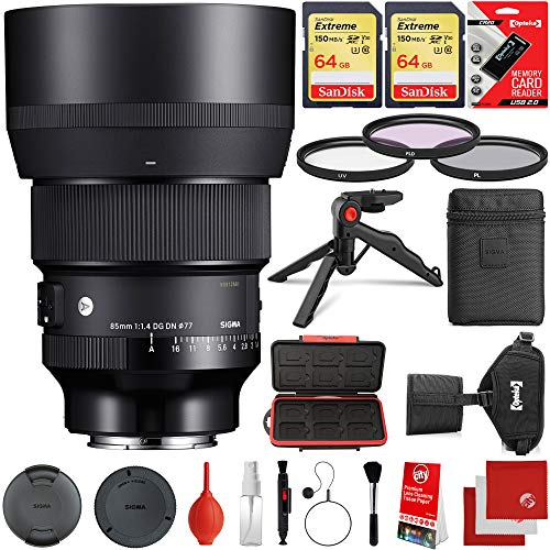 Sigma 85mm f/1.4 DG DN Art Lens Leica L-Mount Bundle with 2X 64GB Extreme Memory Cards, IR Remote, 3 Piece Filter Kit, Wrist Strap, Card Reader, Memory Card Case, Tabletop Tripod, Microfiber Cloths