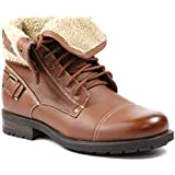 Polar Fox MPX-506015 Brown Mens Military Fold Down Combat Work Desert Ankle Boot with Leather Lining and Fur