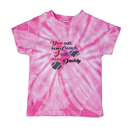 Call Tie Dye T-shirt (You Call him Coach I Call Daddy Baseball Baby Kid 100% Cotton Tie Dye Fine Jersey T-Shirt Tee - Pink, 3T)