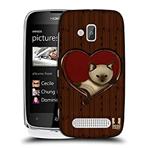 Head Case Designs Cat In A Heart Wood Craft Protective Snap-on Hard Back Case Cover for Nokia Lumia 610