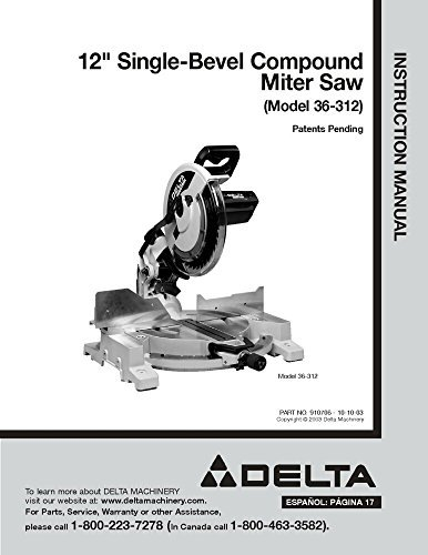 gle-Bevel Compound Miter Saw Instruction Manual Reprint ()