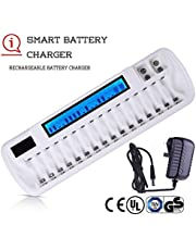 "Eusamxon AA AAA 9V Battery Charger,Smart LCD Battery Chargers For 18 Bay Rechargeable Batteries with""UK & Euro""Power Adapter(Certificated UL CE BS)"