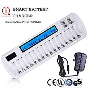 "18 Bay LCD AA AAA 9V Battery Chargers For Rechargeable Batteries with""UK & Euro""Power Adapter,Multiple Battery Charger with Intelligent Battery Detection Technology(Certificated UL CE BS)"