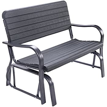 Giantex Swing Glider Porch Chair Steel, Patio Loveseat Bench For 2 Person,  Rocking Glider Bench Seating