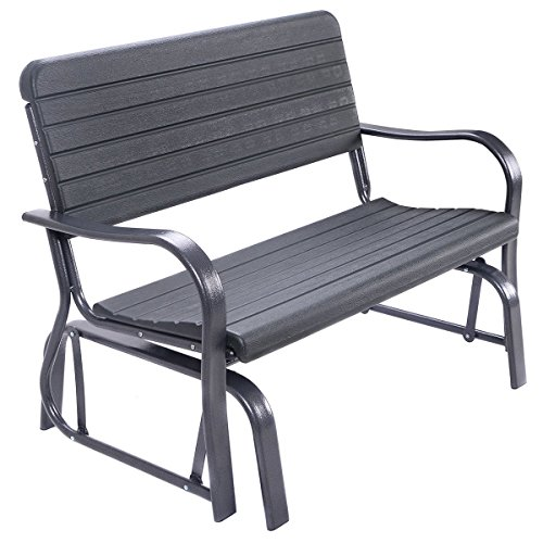 Giantex Swing Glider Chair Patio Steel Porch Chair Loveseat Bench for 2 Person, Rocking Glider Bench Seating Review