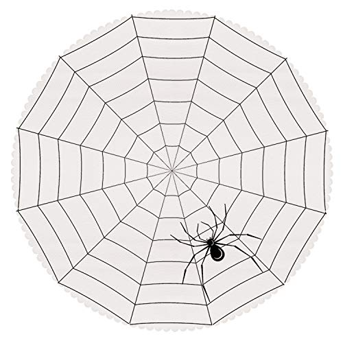 (iPrint Personalized Round Tablecloth [ Spider Web,Toxic Poisonous Insect Thread Crawly Malicious Bug Halloween Character Design Decorative,Black White ] Fabric Home Decor)