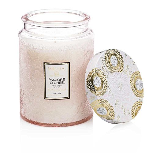 Voluspa Panjore Lychee Large Embossed Glass Jar Candle, 16 - Scented Lychee Candle