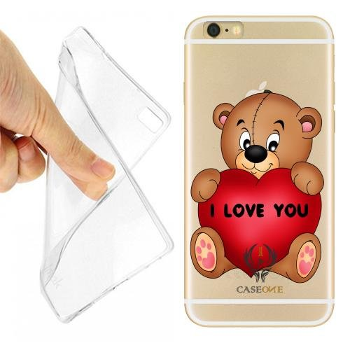 Caseone linea top CUSTODIA COVER CASE TEDDY LOVE PER IPHONE 6 TRASPARENTE