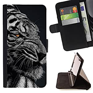 DEVIL CASE - FOR Samsung Galaxy S4 IV I9500 - Ferocious Angry Mad Tiger Black White - Style PU Leather Case Wallet Flip Stand Flap Closure Cover