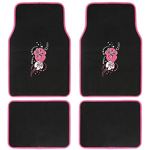 (BDK 4-Piece Design Carpet Floor Mat Set - (Hawaiian Flower Pink) (Licensed Products, Secure)
