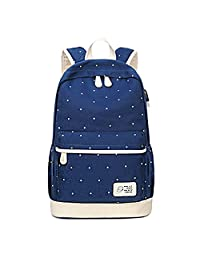 """Artone Dot Canvas Big Capacity Backpack School Daypack With Headphone Hole USB Charging Port Laptop Compartment Fit 14"""" Notebook Deep Blue"""