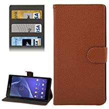 For cellphone Cases, Litchi Texture Leather Case with Holder &Credit Card Slot for Sony Xperia T2 Ultra ( Color : Brown )