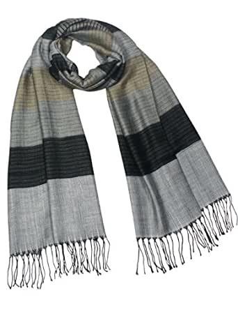 Multi-Color Awning Stripe 100% Rayon Tassel Ends Long Scarf - Silver Gray