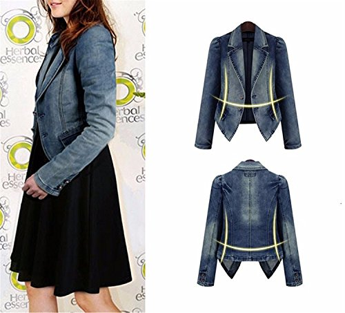 Fine Wool Outerwear - Toping Fine woman jacket spring and autumn Plus Size 5XL short denim jackets winter jean coat jacket clothing Blue3X-Large