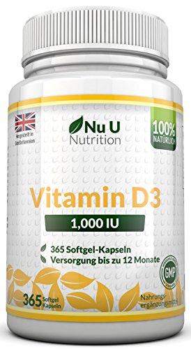 Vitamin D3 1000IU von Nu U, 365 Softgel-Kapseln (Jahresversorgung) - 100% GELD-ZURÜCK-GARANTIE - Vitamin D stärkt die Knochen, Zähne und das Immunsystem - keine künstlichen Zusatzstoffe - Hohe Stärke 1000IU