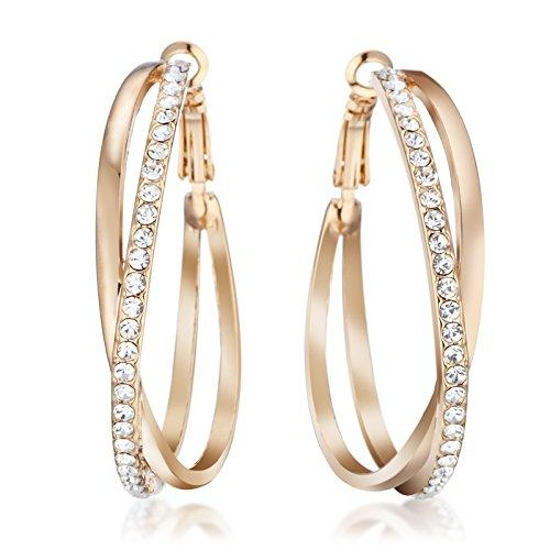 Gemini Women Jewerly 18K Yellow Gold Big Round Hoop Swarovski Crystal Pierce Earring Sz 5cm Yellow Gold