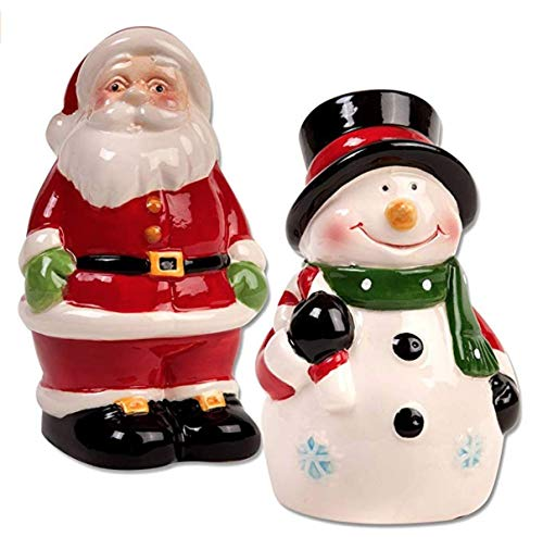 Christmas Salt & Pepper Shaker Set. Santa Claus Salt Pepper Shaker. Snowman Salt Pepper Shaker. Santa & Snowman Christmas Tabletop Winter Decoration Set.