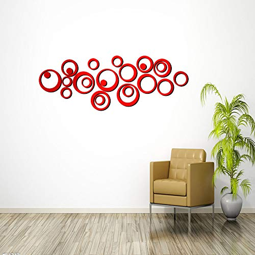 HOODDEAL Acrylic Mirror Style Removable Decal Vinyl Art Wall Sticker Home Decor - Bathroom With Red Circle Mirrors