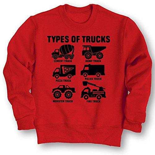 Instant Message Types of Trucks -Toddler Crew FLEECE-4T Red
