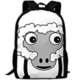 CY-STORE Sheep Fluffy Farm Animal Outdoor Shoulders Bag Fabric Backpack Multipurpose Daypacks For Adult