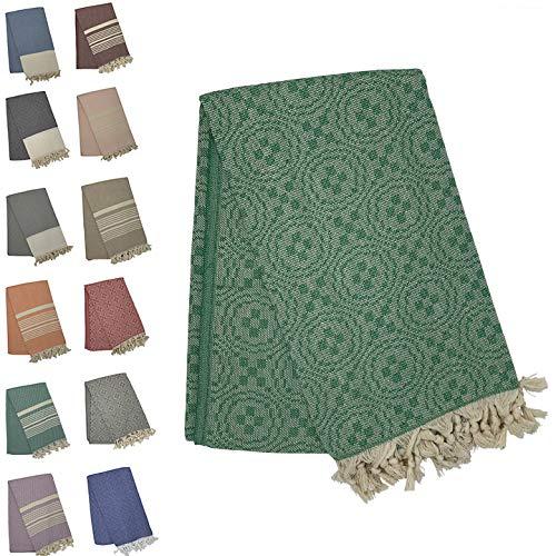 Holm 100% Turkish Cotton Peshtemal Towels - Best Oversized (39x70) Pestemal Luxury Towel for Travel, Beach, Home Bathroom, Fouta, Picnic, etc (Jacquard Green)