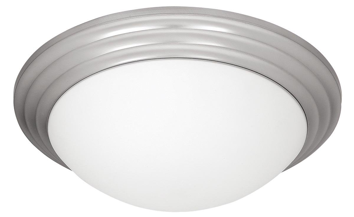 Strata - LED Light 16''dia Flush Mount - Brushed Steel Finish - Opal Glass Shade