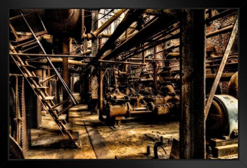 (Steel Works Abandoned Factory Birmingham Alabama Photo Art Print Framed Poster 20x14 inch)