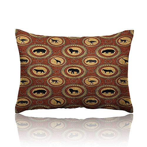 Anyangeight Safari Cars Pillowcase African Ethnic Medallion Pattern with Monkey Giraffe Elephant Lion Rhino Youth Pillowcase 20