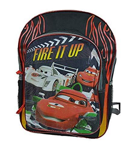 "Disney Boys Cars 16"" Backpack Large Black On Fire"