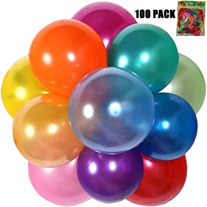 Silver /& Black Assorted Latex Balloons Pack of 12 Party-Decor Happy New Year Explosion 12 Printed Gold